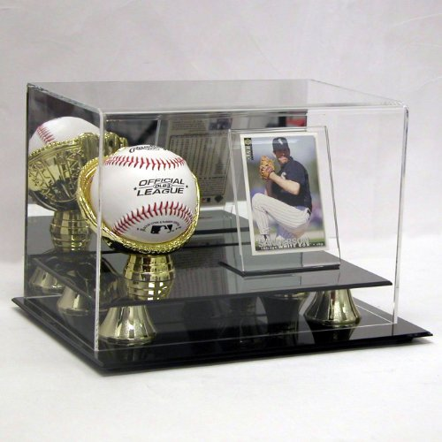 Deluxe Baseball & Card Holder - Combo Ball & Card Display - Sports Memoriablia Display Case - Sportscards Collecting Supplies