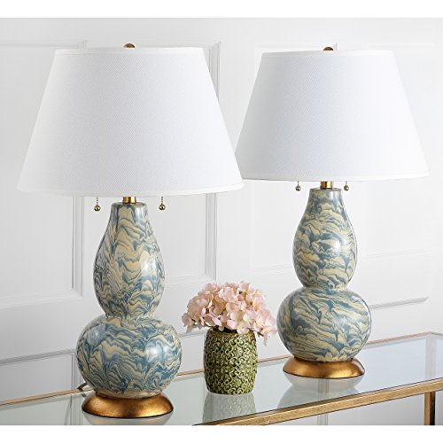 Collection White Gold Two Light - Safavieh Lighting Collection Color Swirls Blue and White 28.5-inch Table Lamp (Set of 2)