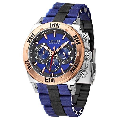Reloj Silicona para los hombres banda azul 3 ATM impermeable a la escala clavo cuarzo movimiento