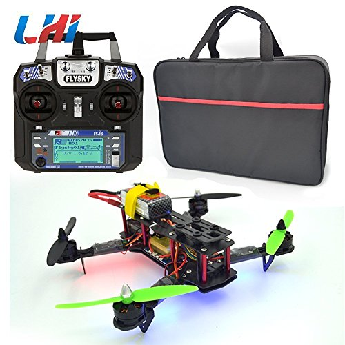 LHI Full Carbon Fiber 250 mm Quadcopter Race Copter Racing Drone Frame Kit RTF +FlySky FS-I6 for FPV (Assembled)