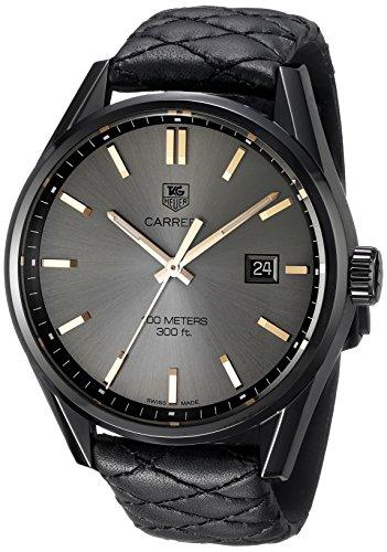 TAG Heuer Women's 'Carrera' Swiss Quartz Titanium and Black Leather Dress Watch (Model: WAR101A.FC6367)