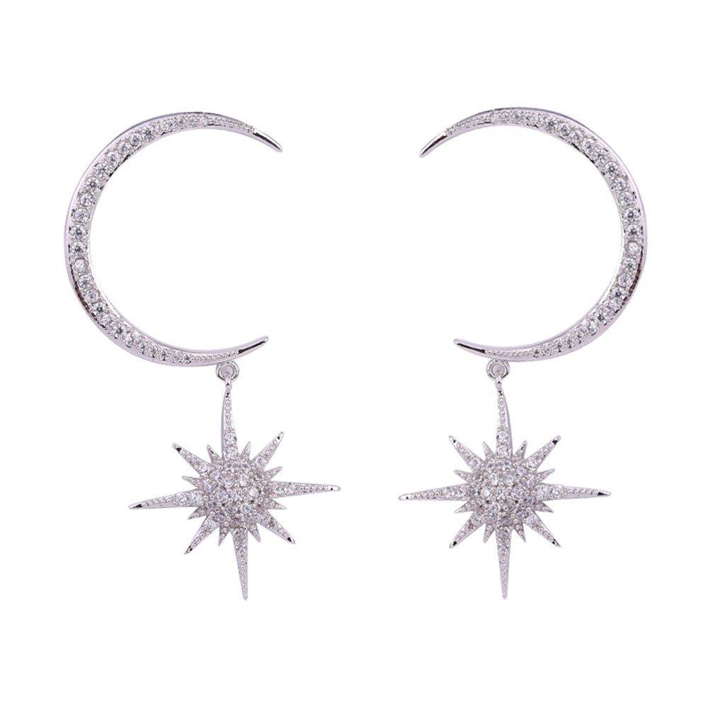 Dana Carrie Stars Moon Exaggerated Earrings Hypoallergenic 925 Sterling Silver Stud Earrings Temperament Earrings Women