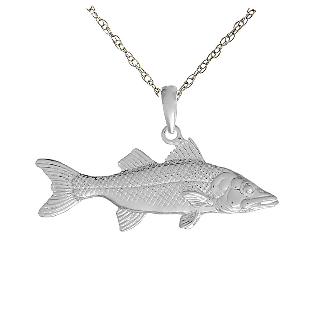 925 Sterling Silver Nautical Necklace Charm Pendant with 18 Inch Chain, 3D Snook Fish