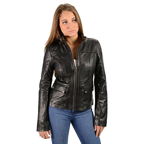 Milwaukee Leather Women's Snap Collar Scuba Jacket With Patch Pocket (BLACK, 3X)