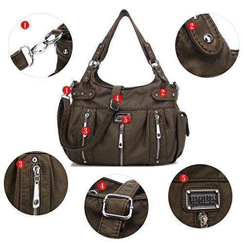 Washed Scarleton Front Bag Coffee Shoulder 3 H1292 Zipper wxOzqUx