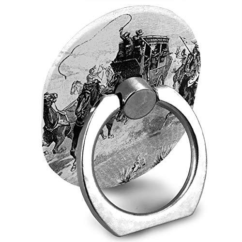 Pedestal Metal Wild Rose (Western Theme A Cowboy Chasing Wild Horse Phone Finger Ring Stand Holder Finger Grip)