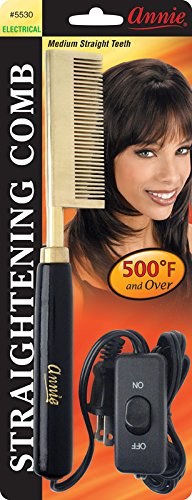 Annie Electrical Straightening Comb, Straight Head, Medium Teeth