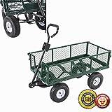 New Heavy Duty Utility Wheelbarrow Lawn Wagon Cart Dump Trailer Yard Gdn Steel