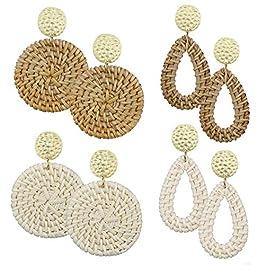 AIDSOTOU Rattan Earrings for Women Lightweight Geometric Statement Earrings Handmade Straw Wicker Br