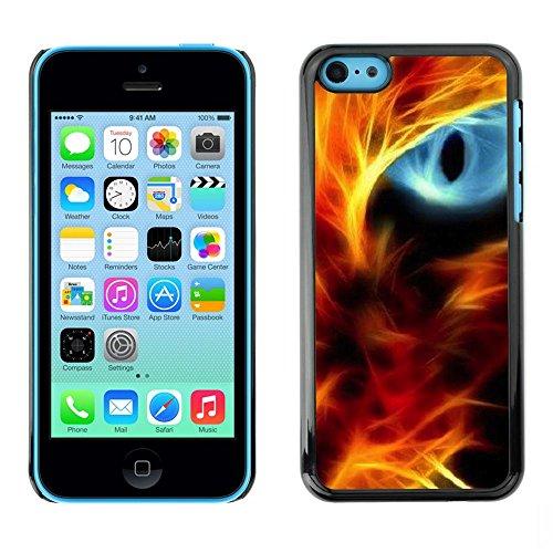 GooooStore/Housse Etui Cas Coque - Fire Cat Eye Red Flames Neon Light Black - Apple iPhone 5C