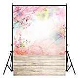 DODOING 3x5ft Photography Backdrop Pink Flowers Wood Floor Photo Background for Wedding Baby Birthday Party Studio Props 0.9x1.5m