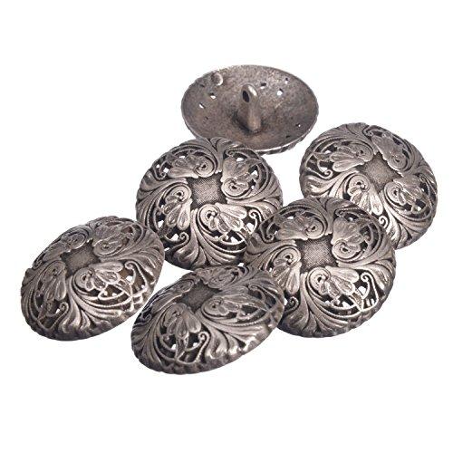 (Zinc Diecasted Metal Shank Button - Renaissance Floral Pattern - 44 Line - Antique Silver)