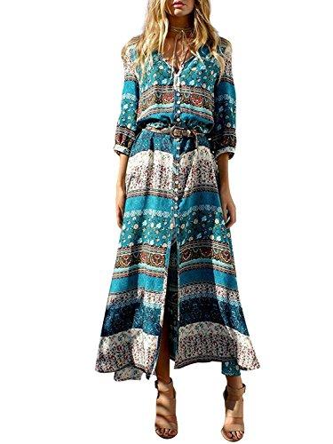Minetom Mujer Vestido Maxi Elegante Fiesta Floral Étnico Tribal Manga 3/4 V-Cuello Cóctel Playa Con el Botón Verde