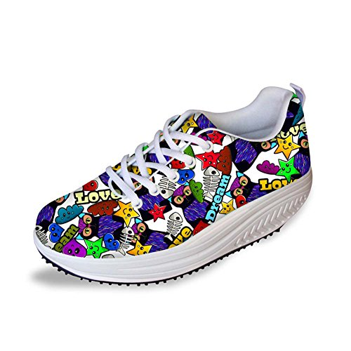 Fashion Swing Walking Strength Women's Fitness Pattern Wedges Sneaker 2 Platform CHAQLIN d71nPHAxP