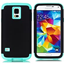 Galaxy S5 Case,LUOLNH 3-Piece High Impact Hybrid Defender Case For Samsung Galaxy S5 i9600 (not fit Galaxy S5 mini 2014)(Black+Mint)