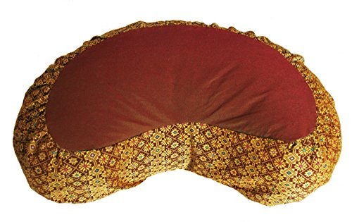 Meditation Cushion Zafu Pillow Buckwheat - Crescent Silk Brocade Saffron