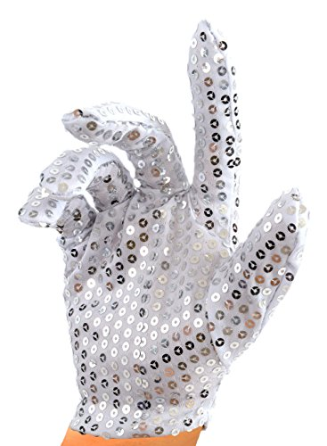 [Silver Sequin Glove; Double Sided] (Mj Thriller Halloween Costume)