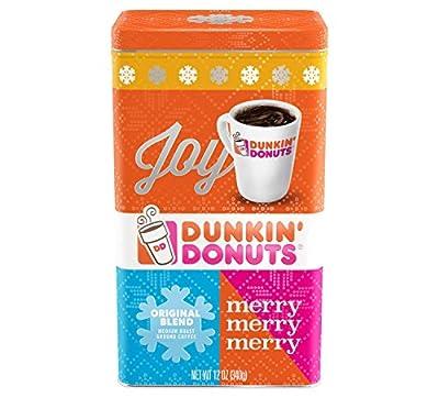 Dunkin Donuts Original Blend Ground Medium Roast Coffee in Christmas Tin 12 oz