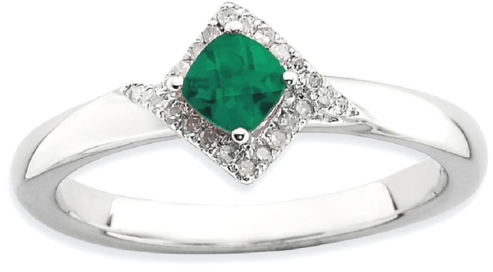 ICE CARATS 925 Sterling Silver Created Green Emerald Diamond Band Ring Size 9.00 Stone Stackable Gemstone Birthstone May Fancy Fine Jewelry Gift Set For Women Heart