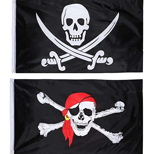 (Jolly Roger Pirate Flag Skull Flag for Pirate Party, Birthday Gift, Pirate Day, Halloween Decoration, 3 by 5 Feet (2 Pieces, Skull and Red Scarf))