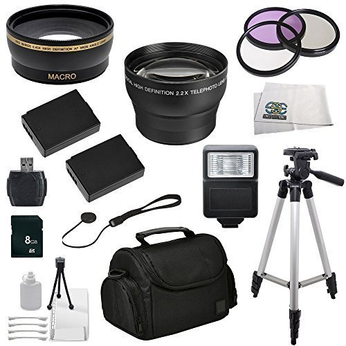 Essentials Accessory Package Bundle for Canon EOS Rebel T3 1100D T5 1200D T6 1300D - Includes Wide Angle & Telephoto Lenses, 3PC 58mm Filter Kit, 2 Replacement Batteries, Digital Slave Flash, MORE from SSE