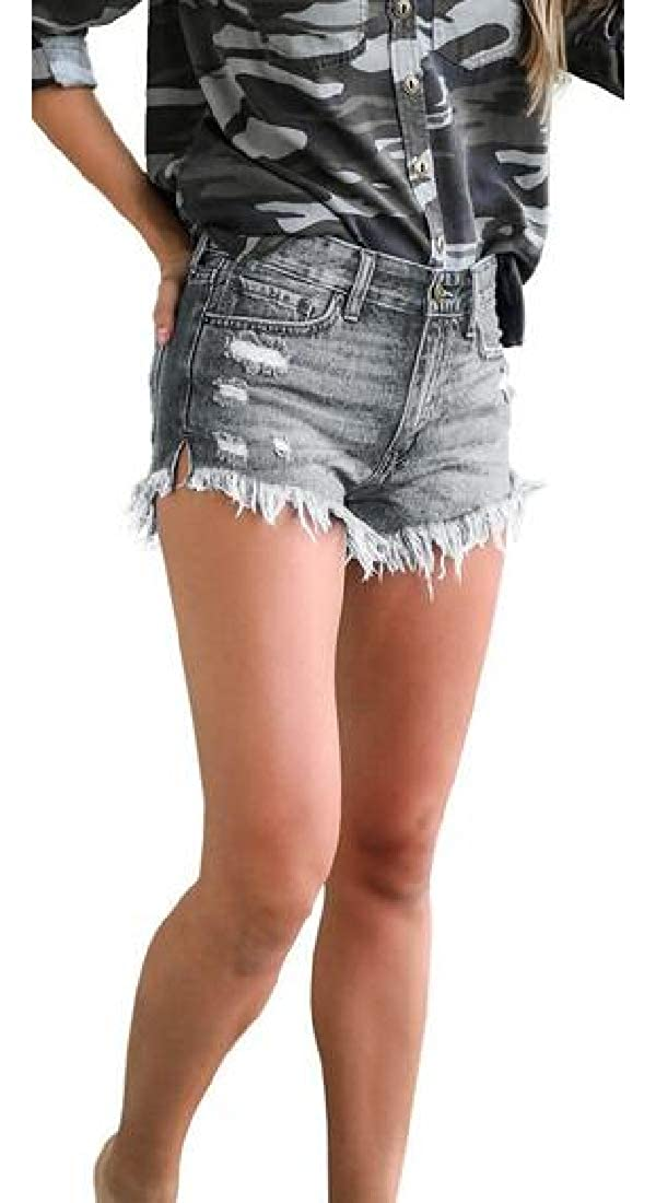Domple Women Cut Off Bodycon Summer Ripped Destroyed High Waist Denim Shorts Jeans