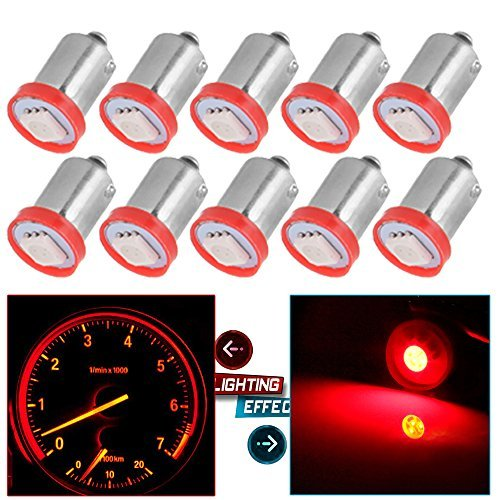 cciyu BA9S 1815 1816 182 1889 LED Light Bulbs Insrument Cluster Gauges Dashboard Light Ash Tray Glove Box Light,10 Pack Red