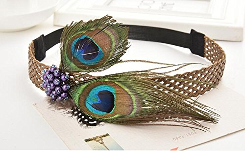 Peacock Feather Hair Band, Dress With Headdress, Party Carnival Hair Band, Travel Commemorative, Woman Wedding Band, Women's Hair Band, Girl Fashion Hair Accessories by High (Peacock Dress For Girls)