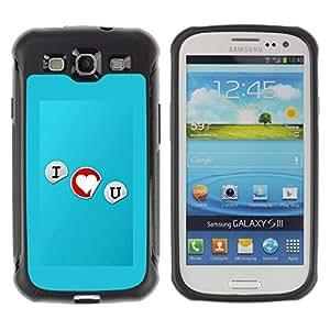 Suave TPU GEL Carcasa Funda Silicona Blando Estuche Caso de protección (para) Samsung Galaxy S3 III I9300 / CECELL Phone case / / I love you Typography /