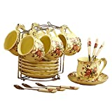 NDHT Pack of 6 Bone China Teacups/Coffee Cups & Saucers Sets with Spoons-6.7Oz, for Home, Restaurants, Display & Holiday Gift,Flower,With Bracket(6 Sets)
