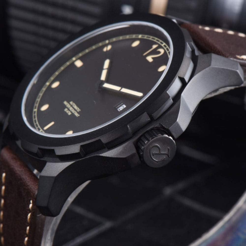 ZLAHY Montre mécanique Montres mécaniques pour Hommes Montre-Bracelet Automatique Saphir Mouvement Automatique Date Bracelet en Cuir Ré