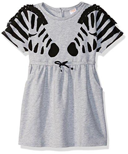 Zebra Fringe - Gymboree Baby Girls Short Sleeve Casual Knit Dress, Grey Zebra Fringe, 2T
