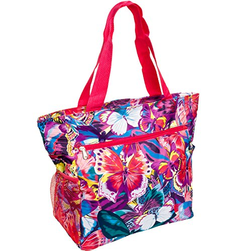 Womens Beach Shopper Tote Bag (Multicolor Butterfly w/ Pink Trim)