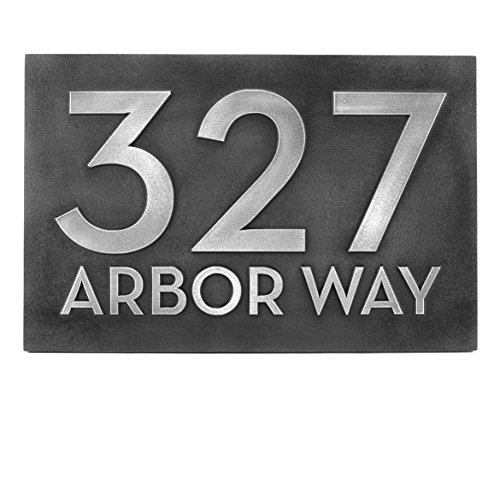 Border Bold Big (Big Bold Classy Modern Font Horizontal Number and Street Home Address Plaque 12.5x8.75 - Stainless Steel Metal Coated with Raised lettering style)