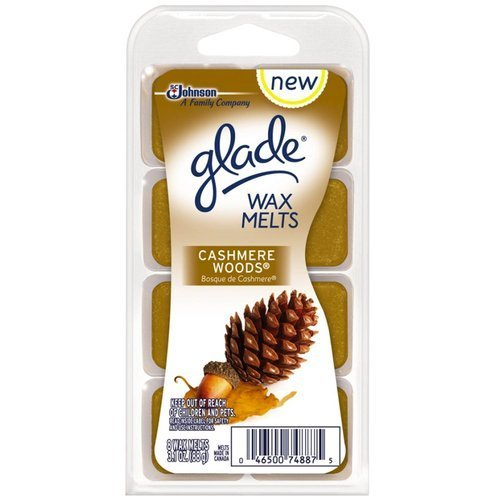 Glade Wax Melts - Cashmere Woods - Net Wt. 3.1 OZ (88 g) - 8 Wax Melts Per Package - Pack of 2