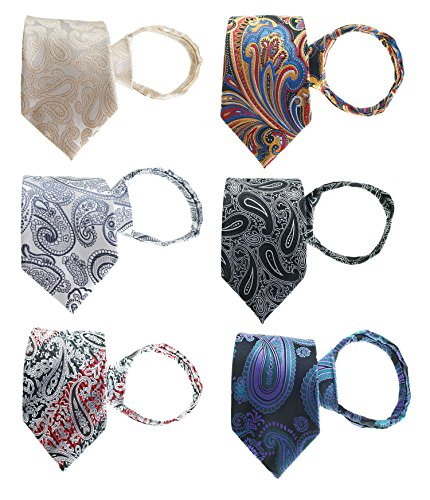 Tiger Mama 6pcs Zipper Tie Pre-tied Necktie Mixed Lot (SET-14)