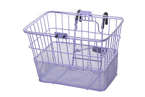 Retrospec Detachable Steel Half-Mesh Apollo Lift-Off Bike Basket with Handles, - Bike Basket Purple