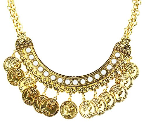 TAGOO Vintage Gold-Tone Coin Chunky Pendant Statement Necklace for Women&Girls (Cute Indian Costumes For Girls)