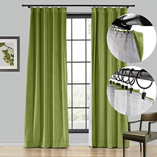 Extra Long Velvet Curtain Sun Blackout Solid Rod Pocket and Back Tab and Flat Hook Drape