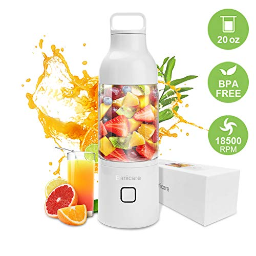 Bariicare Portable Blender for Shakes and Smoothies, 20oz Personal Juicer Cup with USB Rechargeable, Gift for Christmas, Birthday, Holiday, Family, Lover (White)