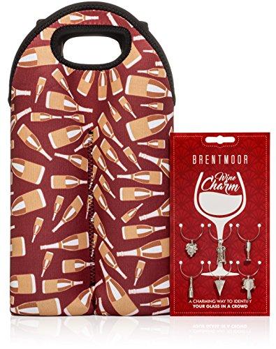 Neoprene Two Bottle Tote (Brentmoor - 2 Bottle Neoprene Wine/Water Bottle Tote - Complete w/ Wine Charms - Red Bottles)