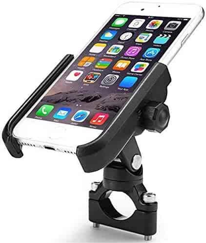 ILM Bike Motorcycle Phone Mount Aluminum Bicycle Cell Phone Holder Accessories Fits iPhone X Xs, 7 | 7 Plus, 8 | 8 Plus, iPhone 6s | 6s Plus, Galaxy S7, S6, S5, Holds Phones Up to 3.7