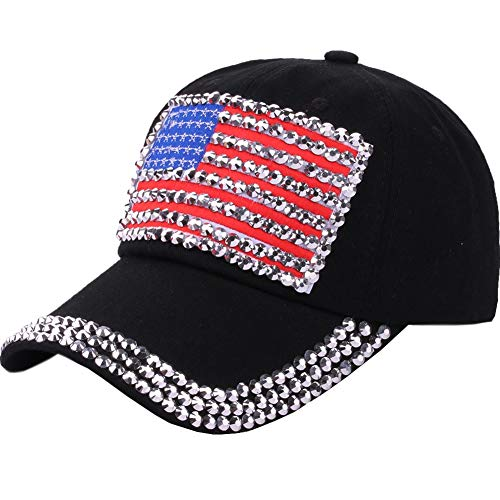 (CRUOXIBB USA Bling Baseball Cap Sparkle American Flag Hat for Women Men Hip Hop Caps Black )
