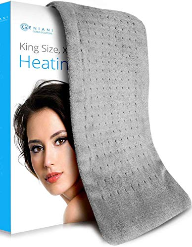 "XL Heating Pad - Electric Heating Pad for Moist and Dry Heat Therapy - Fast Neck/Shoulder/Back Pain Relief at Home - 12"" x 24"", GENIANI (Tabby Gray XL)"
