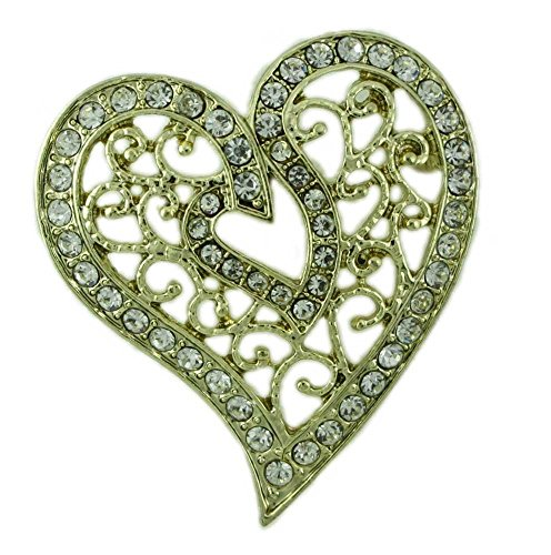 Lilylin Designs Gold-Plated Filigree Crystal Heart Brooch Pin
