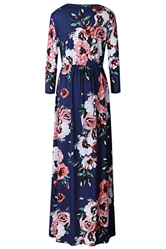 Women's Blue Floral Allfennler 0320 Navy Summer Neck Round Maxi Print Short Sleeve Dress 7gdFqwd