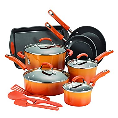 Rachael Ray 14-Piece Hard Enamel Nonstick Cookware Set, Orange