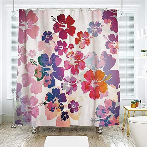 Bath Curtain Suit Bathroom Waterproof Curtain Bath Curtain,Hawaiian,Exotic Floral Print Island Theme Tropical Hawaii Flowers Pattern Art Print,Purple Red Orange,70.8