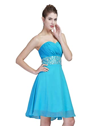 FAIRY COUPLE Chiffon Party Homecoming Dresses Strapless D0123 - Blue -