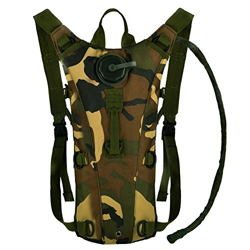 Bormart 3L 3 Liter 100 ounce Hydration Pack Bladder Water Bag Pouch Hiking Climbing Hunting Running Survival Outdoor Backpack (Jungle camouflage)